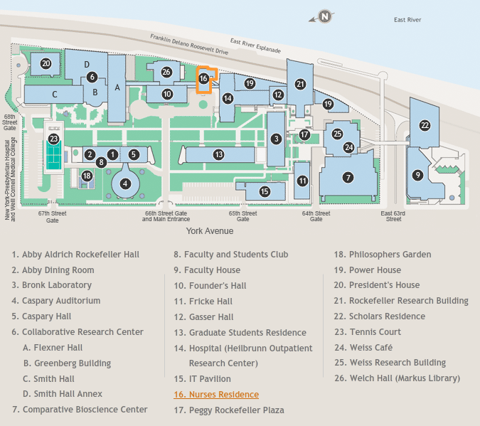 Rockefeller University Campus Map.About Directions