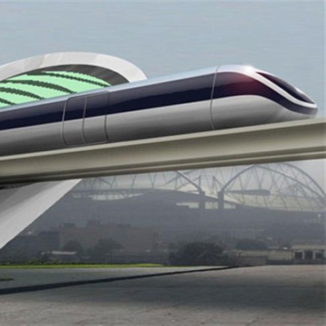 Rendering of the proposed 'Hyperloop,' a magnetically levitated train emerging from a partially evacuated tunnel